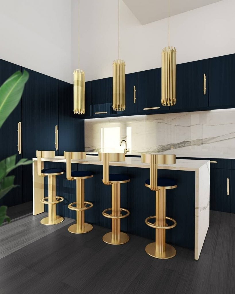 Dining Room and Kitchen Design Elegant, Modern & Practical Decor  gold brass counter stool dining room and kitchen design Dining Room and Kitchen Design: Elegant, Modern & Practical Decor Dining Room and Kitchen Design Elegant Modern Practical Decor 2 gold brass counter stool 819x1024