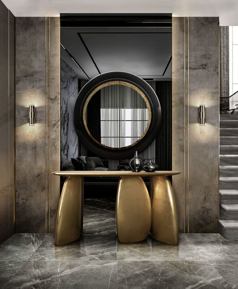 entryway and hallway design Entryway and Hallway Design: Modern Decor, Elegant and Sophisticated Entryway and Hallway Design Modern Decor Elegant and Sophisticated golden console table 4