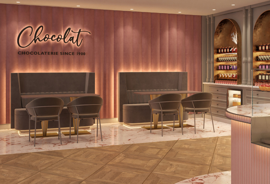 Chocolaterie in New York, Boston and Atlanta, decorated with shades of pink on the walls and beige chairs and sofas. kitzig design studios Kitzig Design Studios- From Germany to the World Interior Chocolaterie 03 1 1