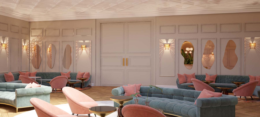 Luxurious hotel in Moscow, decorated with shades of pink and blue. We have blue couches with pink pillows. Pink walls with funky mirrors giving it a different touch and some pink armchairs next to the sofas. kitzig design studios Kitzig Design Studios- From Germany to the World Interior INTERNET 5 Stars Luxury Brand 02 1