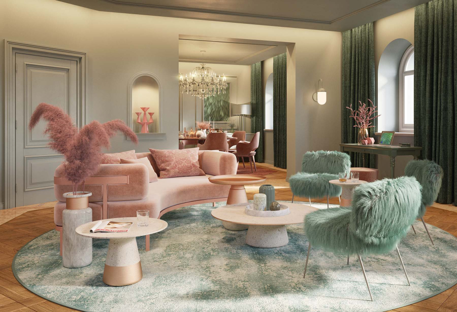 Luxurious Hotel in Moscow with a blue and pink decorative theme. We have a big pink curved sofa with some fluffy blue arm chairs and some white pinkish tables and a vase with pink decoration. kitzig design studios Kitzig Design Studios- From Germany to the World Interior INTERNET 5 Stars Luxury Brand 03 1