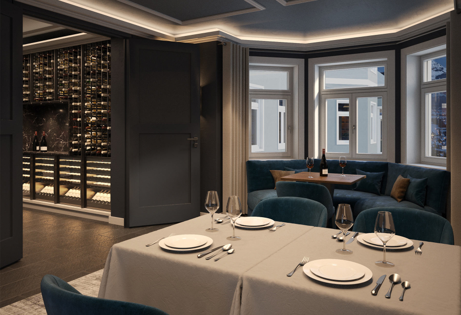 Restaurant of the Erika Hotel, we have dinning tables with elegant blue chairs and a blue sofa, as well as a wine cellar near.  kitzig design studios Kitzig Design Studios- From Germany to the World Interior INTERNET Hotel Erika 04 1