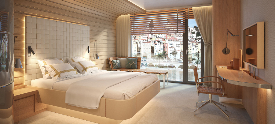 This Sea Hotel bedroom is facing the water, decorated with neutral tones, using a wood desk and a white bed frame . kitzig design studios Kitzig Design Studios- From Germany to the World Interior INTERNET Hotel Sea Hotel 03