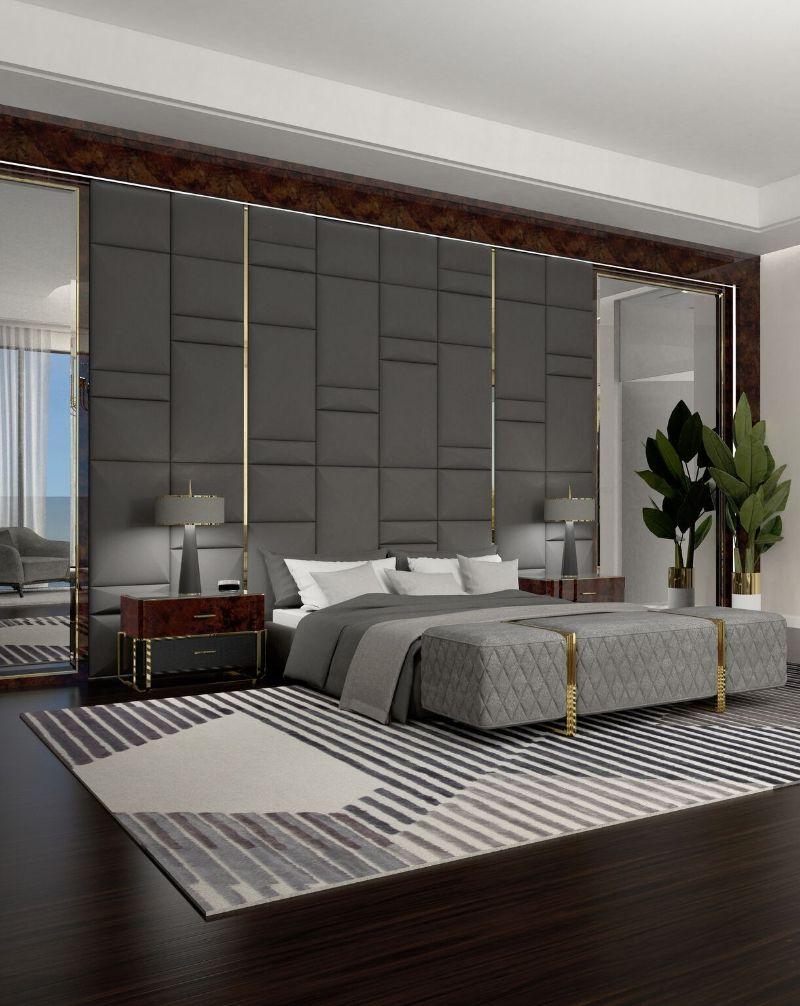 modern bedroom and closet design Modern Bedroom and Closet Design: Sophisticated & Timeless Modern Bedroom and Closet Design Sophisticated Timeless 11 grey velvet bench