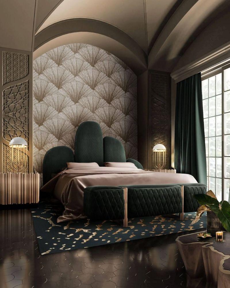 modern bedroom and closet design Modern Bedroom and Closet Design: Sophisticated & Timeless Modern Bedroom and Closet Design Sophisticated Timeless 13 green velvet headboard