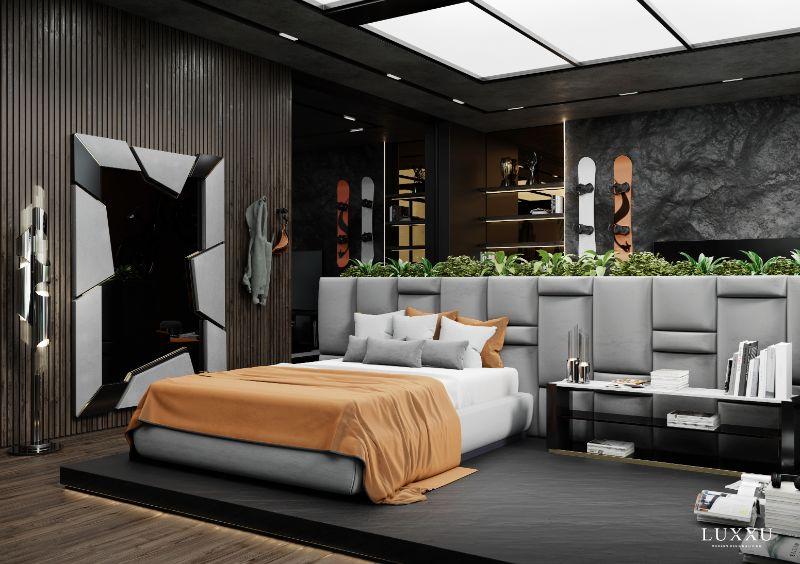 modern bedroom and closet design Modern Bedroom and Closet Design: Sophisticated & Timeless Modern Bedroom and Closet Design Sophisticated Timeless 2 grey velvet headboard 1