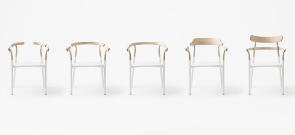 The new chair by Nendo has an interchangeable wooden topThe new chair by Nendo has an interchangeable wooden top 2