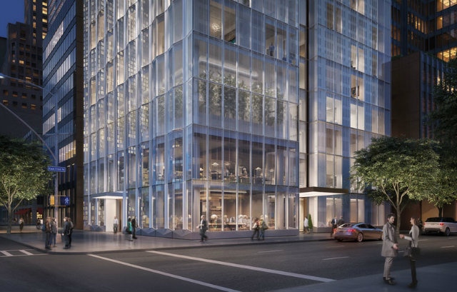 the entrance is recessed beneath a canopy that sits alongside the entrance and pavilion of the seagrambuilding foster partnersFoster Partners new residential tower in New Yorkthe entrance is recessed beneath a canopy that sits alongside the entrance and pavilion of the seagrambuilding