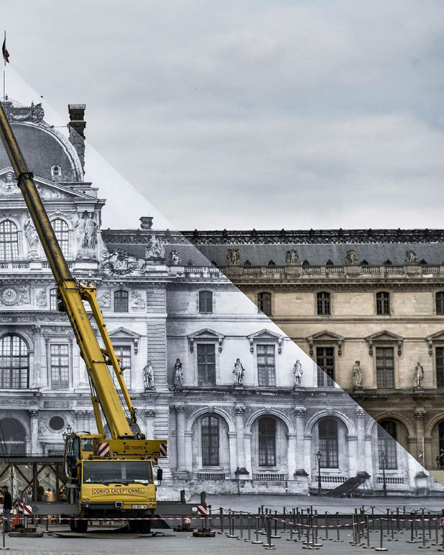 Artist JR Transforms The Louvre With Optical Illusion (5) musée du louvreArtist JR Transforms The Musée du Louvre With Optical IllusionArtist JR Transforms The Mus  e du Louvre With Optical Illusion 5 1