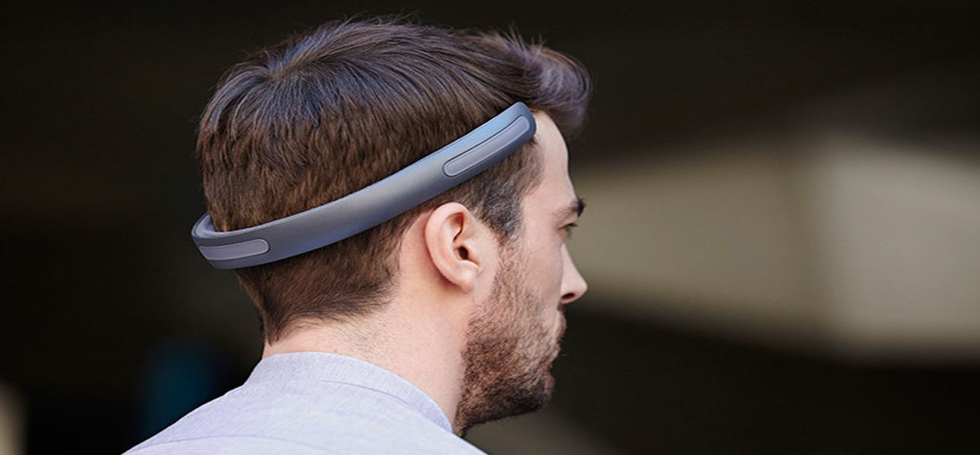 Headset transmits sound through the bones