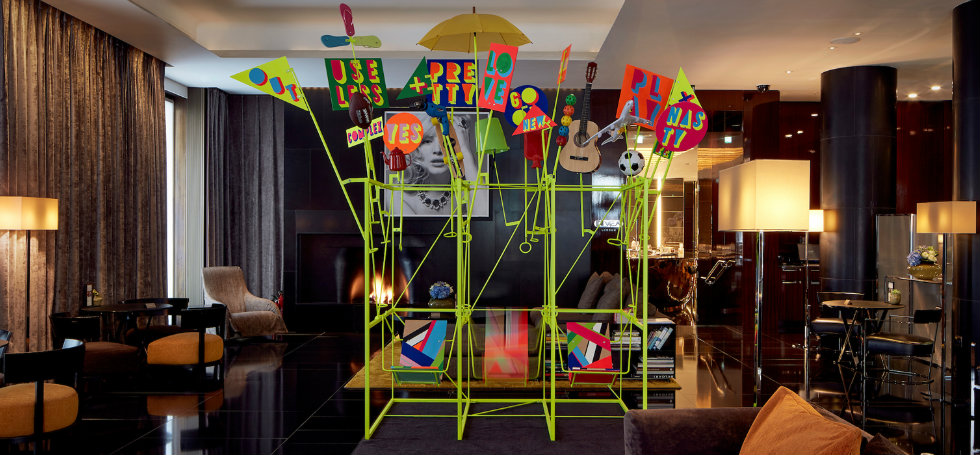 Morag Myerscough & Luke Morgan collaboration for Bulgari London Hotel London Design Festival 2016Bulgari Hotel welcomes Sign Machine for London Design Festival 2016Bulgari Hotel welcomes Sign Machine for London Design Festival 2016