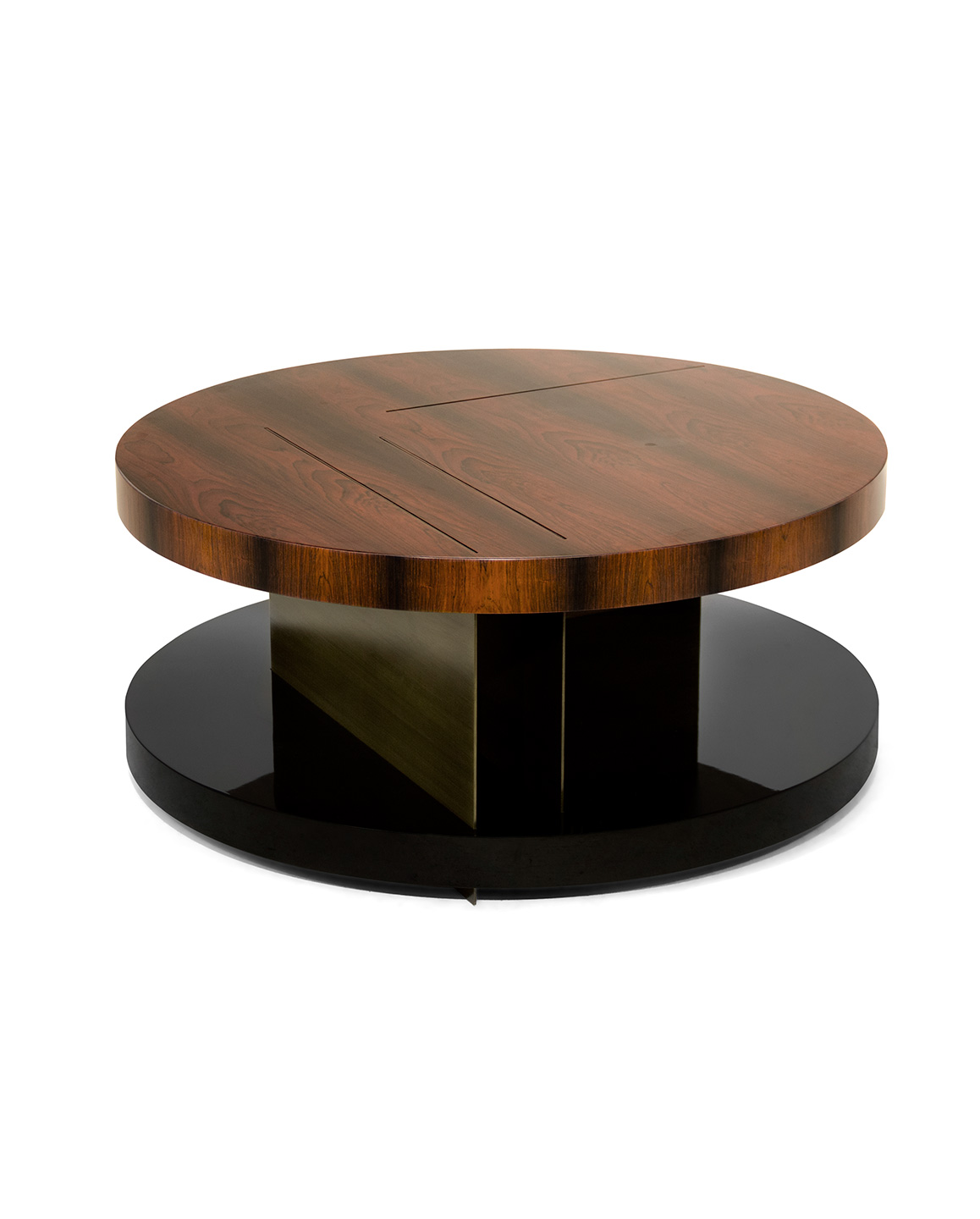 Lallan round wood coffee table by brabbu for Round centre table designs