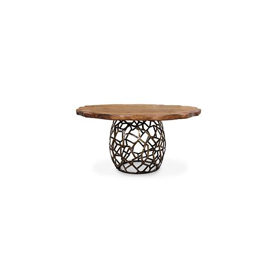 APIS | Round Dining Table Mid Century Modern Design by BRABBU möbel design Mode und Möbel Design treffen sie sich in der Phantasie apis large round geometric wood brass dining table 1