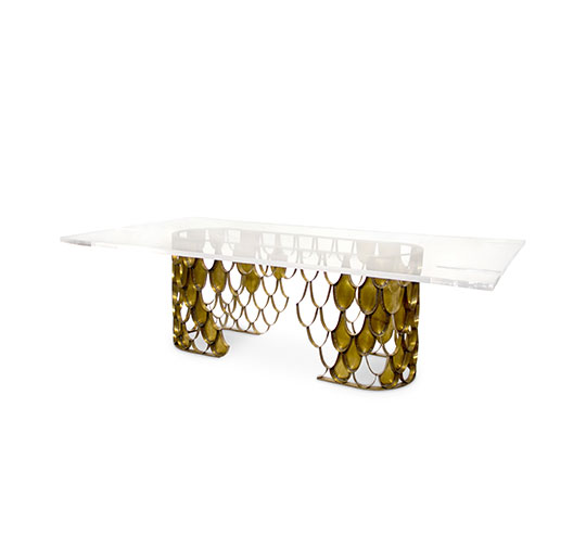 Top 25 Dining Tables Ideas top 25 dining tables ideas Top 25 Dining Tables Ideas koi II large rectangular 8 seat acrylic brass dining table 2