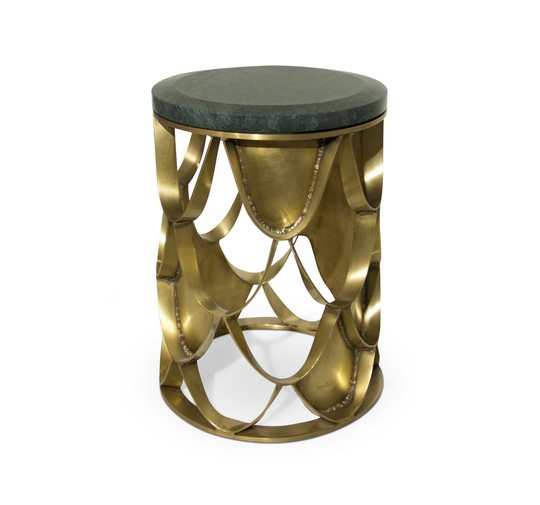 KOI | Brass Side Table Contemporary Design by BRABBU  Interior Design Inspiration: Hochwertige Materialien für den Herbst koi round color marble brass side table 1