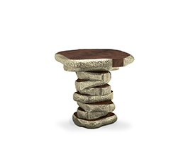 LATZA | Walnut Root Veneer Side Table Modern Design by BRABBU
