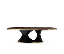 PLATEAU | Walnut Root Veneer Dining Table Contemporary Design by BRABBU