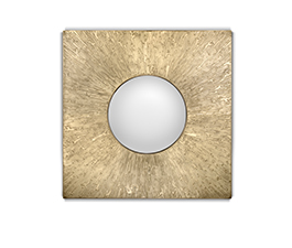 HULI | Matte Brass Square Mirror Contemporary Design by BRABBU
