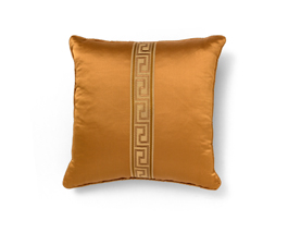 Labyrinth Orange | Satin Classic Design Pillow by BRABBU