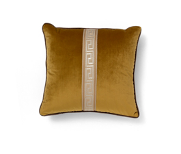 Labyrinth Yellow| Velvet Classic Design Pillow by BRABBU