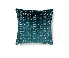 Zellige Blue | Velvet Geometric Design Pillow by BRABBU