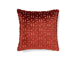 Zellige Red | Twill Geometric Design Pillow by BRABBU