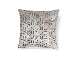 Zellige White | Velvet Geometric Design Pillow by BRABBU