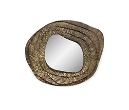 KUMI II | Hammered Aged Brass Mirror Contemporary Design by BRABBU