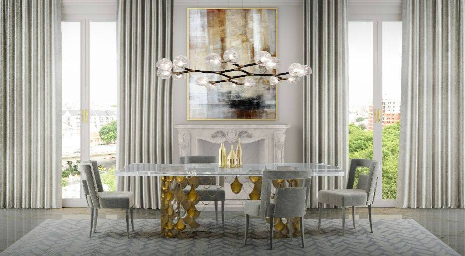Residential Project: Dining Room With Koi Dining Table, Naj Dining Chairs and Horus Suspension Light