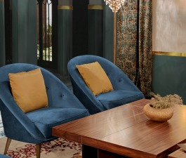 This hotel interior design in Morocco hides many stories from around the world. Starting with its pieces. MALAY Armchairs make a statement with its blue velvet, while LALLAN Center Table adds a modern