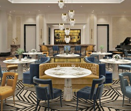 This hotel interior design in Morocco hides many stories from around the world. Starting with its pieces. In a blue and mustard colour palette, NAJ Dining Chairs and BOURBON Sofa are what stands out i