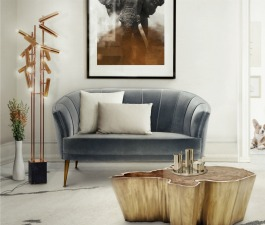 This is the perfect place in a living room where you can rest and revel in the sweetness of this velvet MAYA sofa.