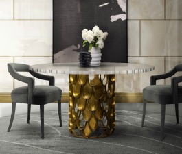 A luxurious dining room decoration with unique design.